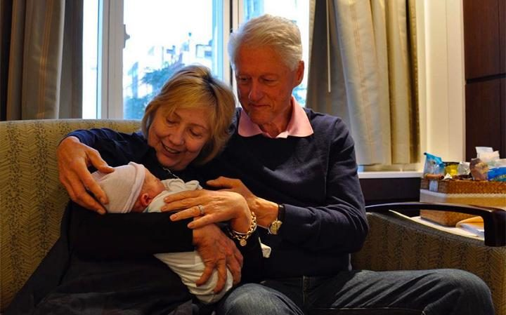 Hillary and Bill Clinton with grandson Aidan CREDIT: HILLARY CLINTON